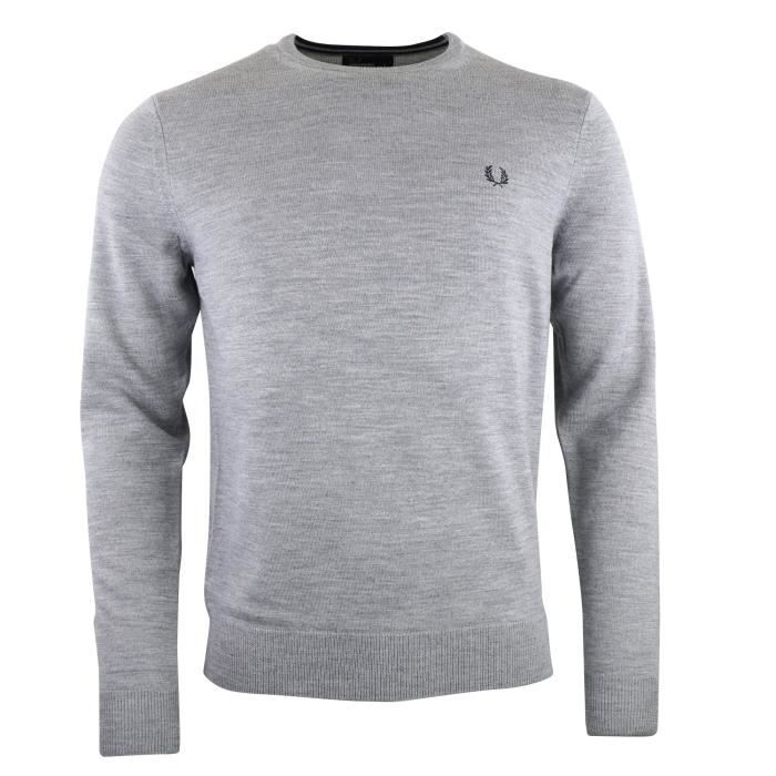 Rond L Perry Col Pull Merinos K7211 Gris Laine gris Fred wUT6zqxYz