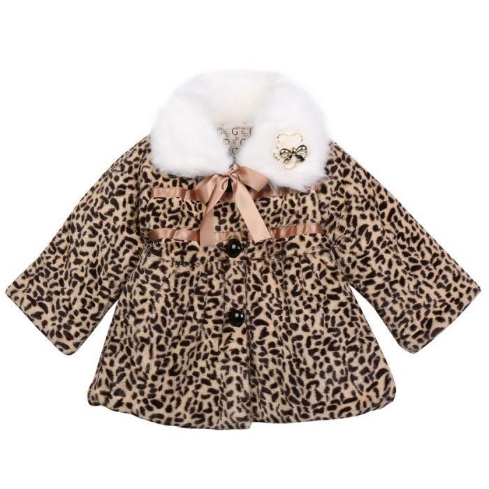 9eba1ce63b64d Bébé enfants filles léopard faux renard fourrure col manteau vêtements  hiver vêtements de plein air veste