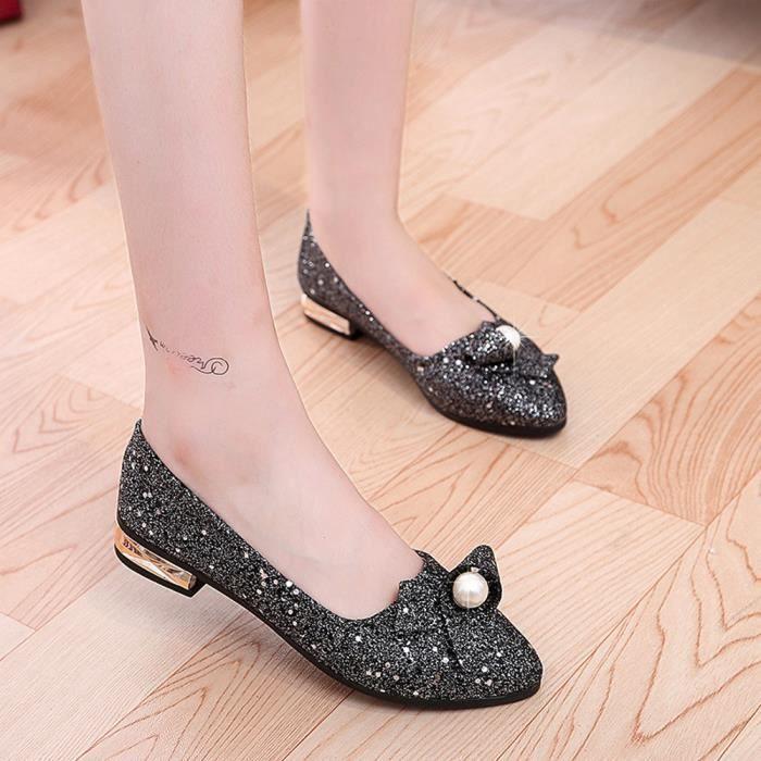 Napoulen®Femmes talon plein paillette Ballet Slip sur plats mocassins chaussures Noir-XYY70811512BK APzt1QvEf1