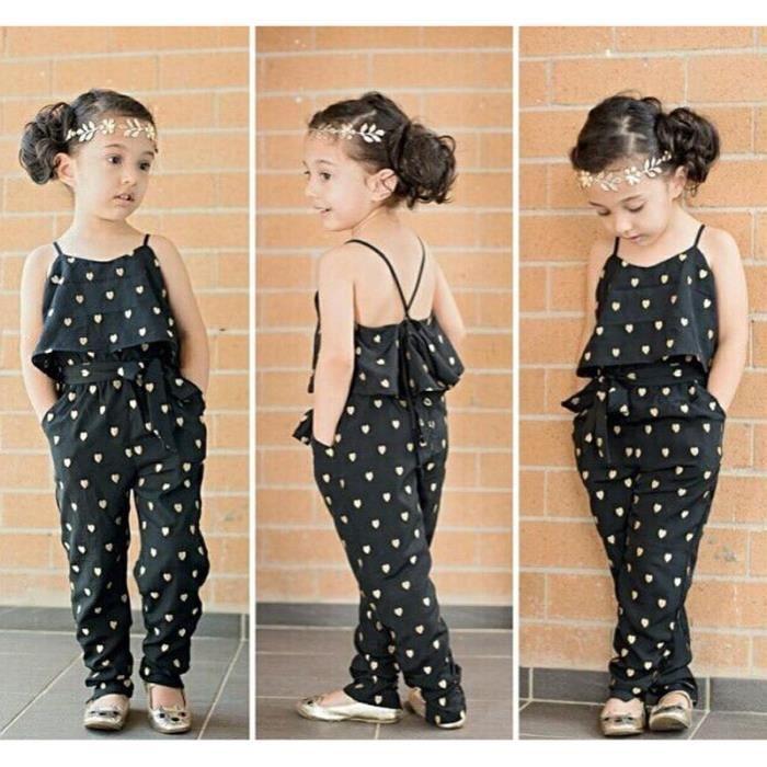 chaussures de sport 3055c efea6 2-7 Ans Enfant Fille Combinaison Salopette Pantalon Motif Coeur Tenue Été  Mode