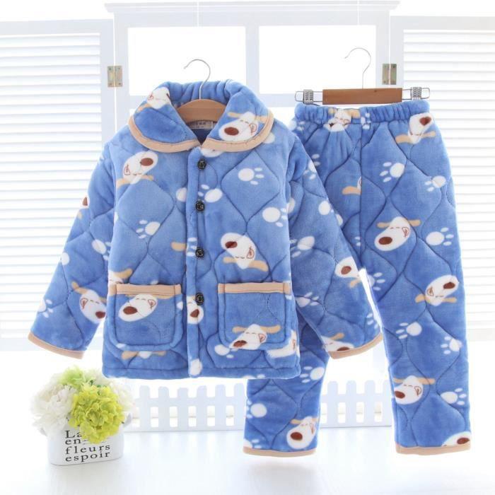 020978534b35d Pyjama enfant garçon flanelle deux pièces motifs chiens boutonné épais Bleu  clair
