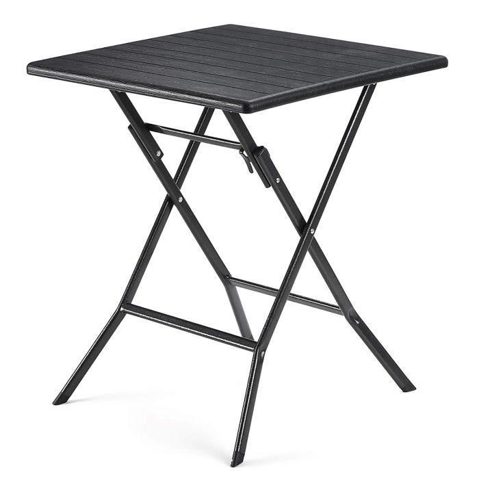 SONGMICS Table de Jardin Pliant, Surface en Plastique Effet Grain de Bois,  Pieds Robustes en Fer 62 x 62 x 73 cm, Noir GPT04BK