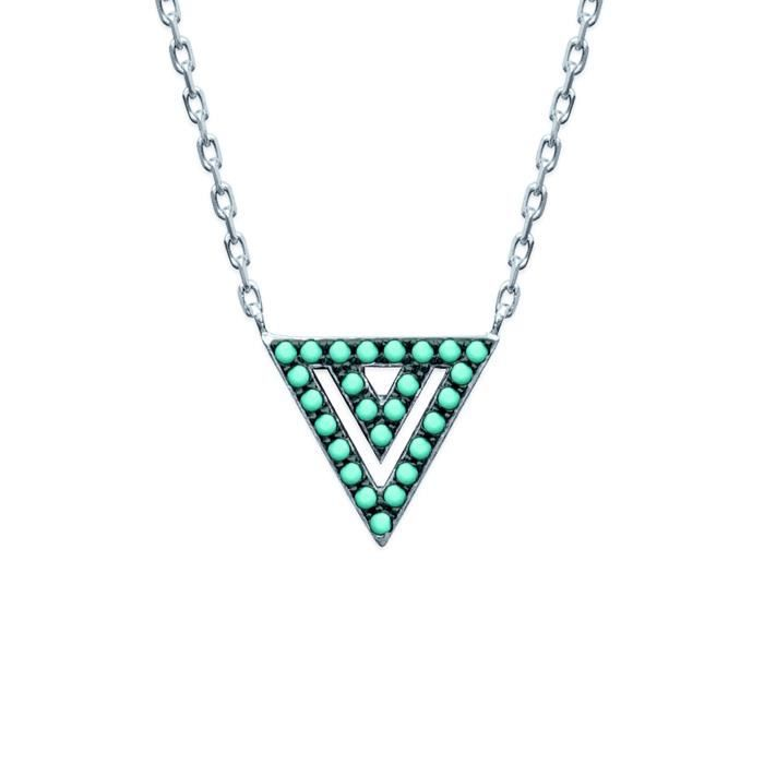 Collier Brillaxis triangle pierres bleues