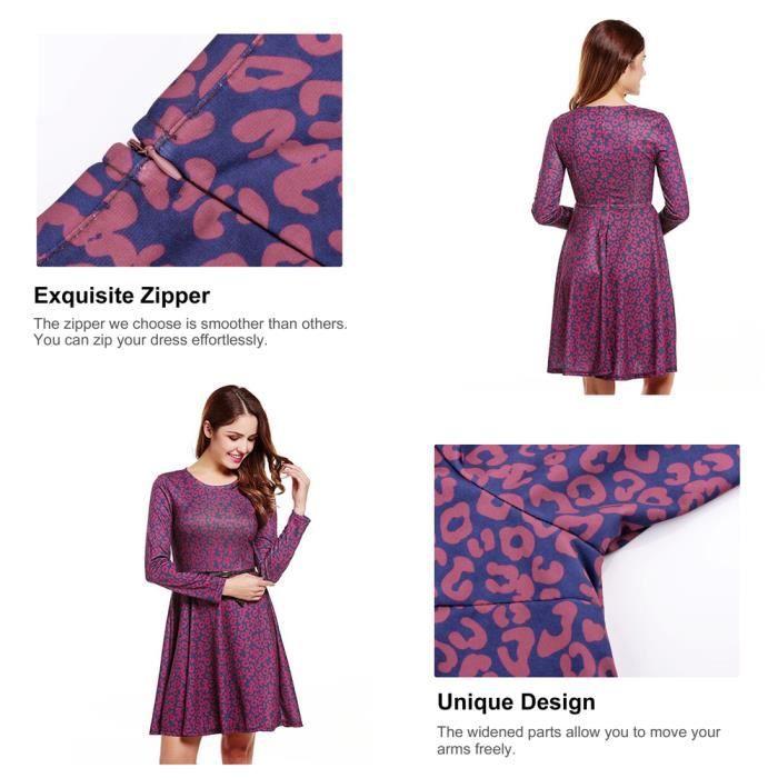 Fitibest Robe à Manches Longues Casual Jupe Longue Ronde Robe de cou pour les Femmes