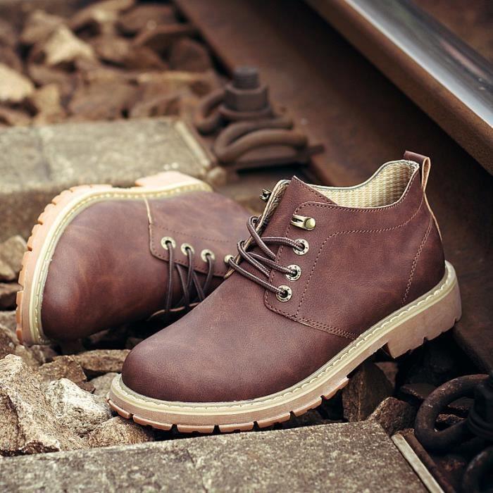 Brown Solide Couleur des hommes en cuir de vachette Martin Bottes 15rF9k