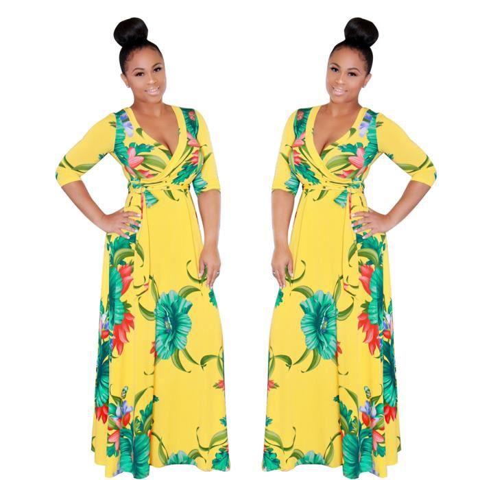 Femmes Robe Collier V En vrac Manches longues Robes LongueCamouflage 3D Impression Confortable Vetements plus Taille s-xl
