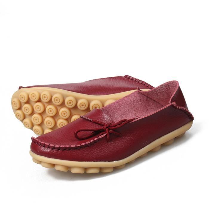 Sidneyki®La lettre des femmes Soft Lace-Up décontracté chaussures plates pois antidérapant chaussures extérieures Du vin XKO542