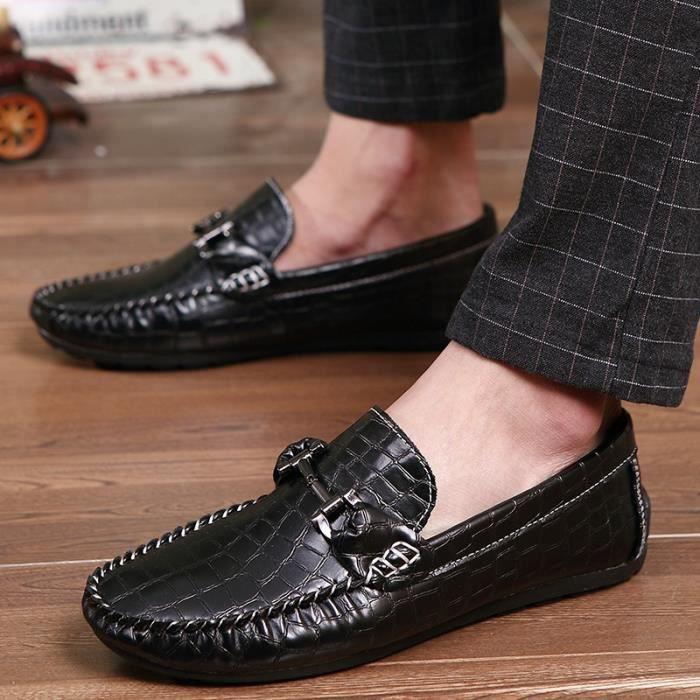 Chaussures Hommes Casual Mode Hommes Chaussures en cuir pour homme Mocassins Mocassins Slip Flats Homme Chaussures Hommes,noir,43