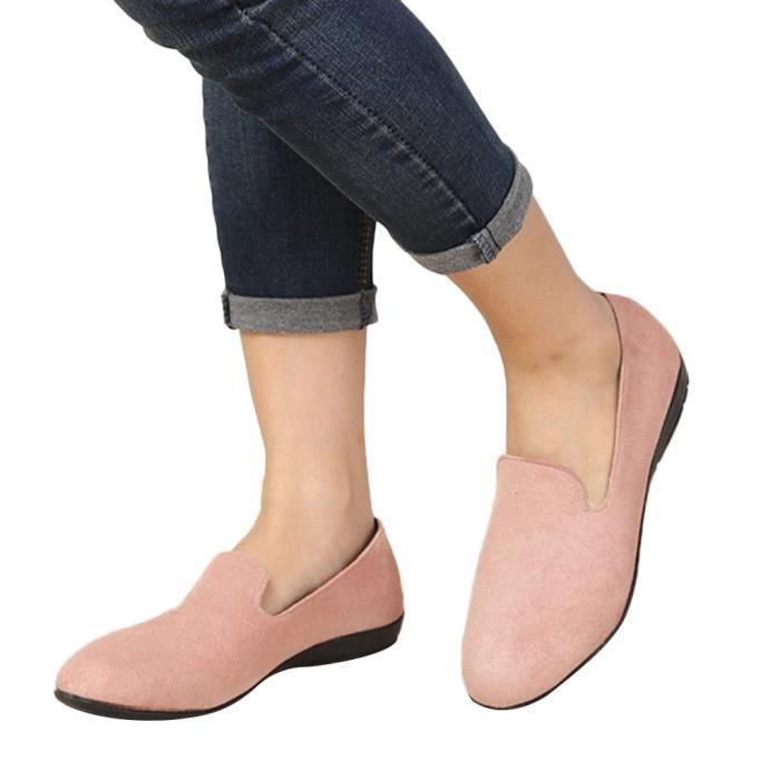 Toe En Plates ljd81121891pk Round Simples rose Slip Femmes Chaussures Bateau Loisirs Daim on Pois 71E8Yqgw