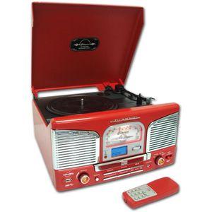 INOVALLEY RETRO-03N Chaîne Hifi vinyle style rétro avec encodage - Lecteur CD / FM - Rouge