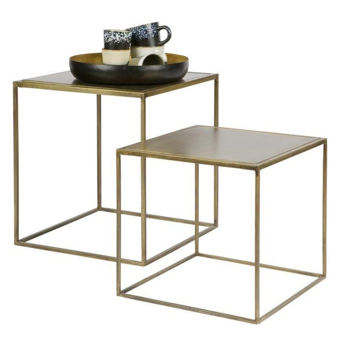 1214859799cc41 Lot de 2 tables gigogne en métal finition laiton - Achat   Vente ...