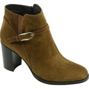 Cana Pilar - Bottine raffinée à talon chaussure Boots mode pour femme petites pointures marque Plumers cuir velours beige bq6ruubp