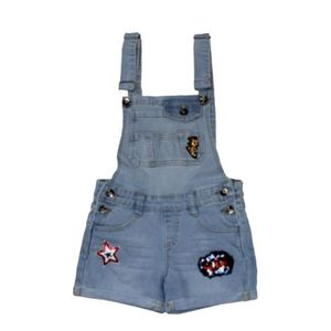 nouvelle sélection emballage élégant et robuste braderie Salopette en jean fille avec écussons Taille de 4 à 14 ans ...