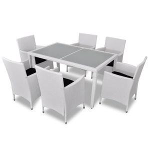 Ensemble de jardin rotin blanc 6 chaises et 1 table - Achat / Vente ...