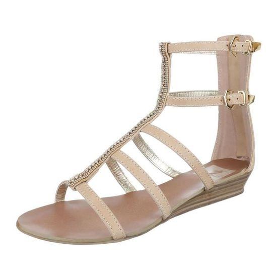 d29235a4eb2f1 Femme De Plage D'été Sandale Strappy Chaussure Escarpin Chaussures Beige  BPFzBrq