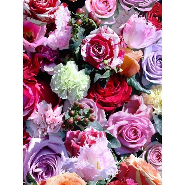 Papier Peint A Fleurs Rose Rouge Et Rose Muriva J97010 Achat