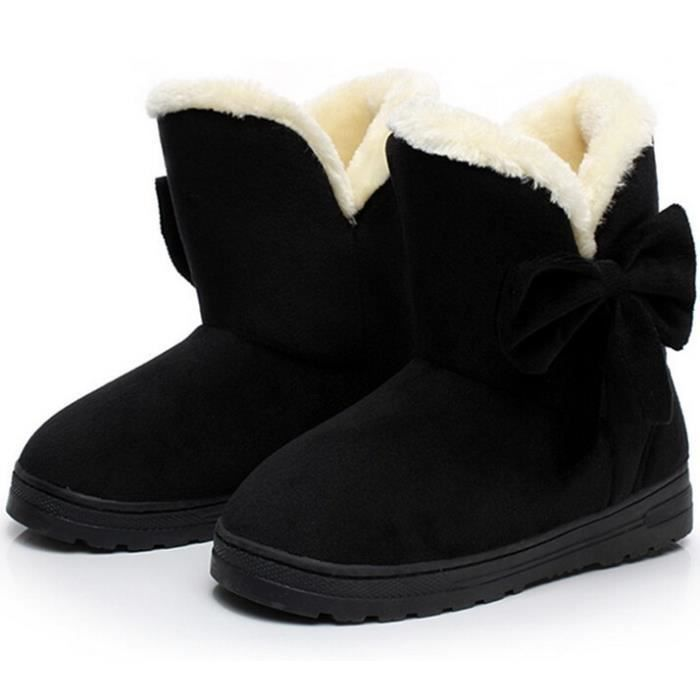 Bottes Plateforme d'hiver Bottes de neige Bow Tie femmes Bottes Flock intérieur cheville