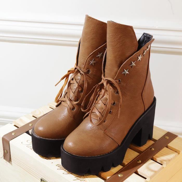 martin boots-Pure Color haut talonpais Lacet ...