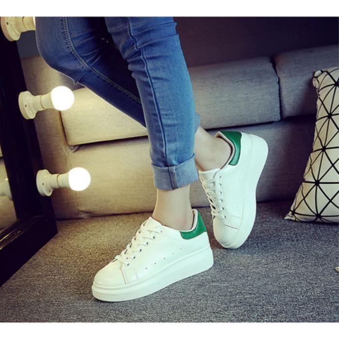 Chaussures de sport blanches muffin chaussures femmes voyagent chaussures fashionista-blanc et vert
