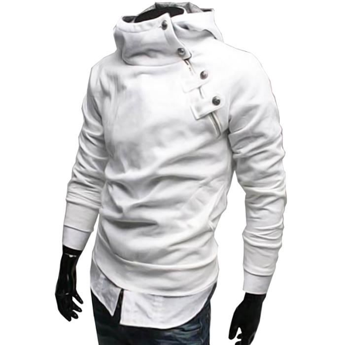 55347783dc1b3 Pull Over- Sweat Homme AssassinCreed Style Chaud Blanc Blanc - Achat ...