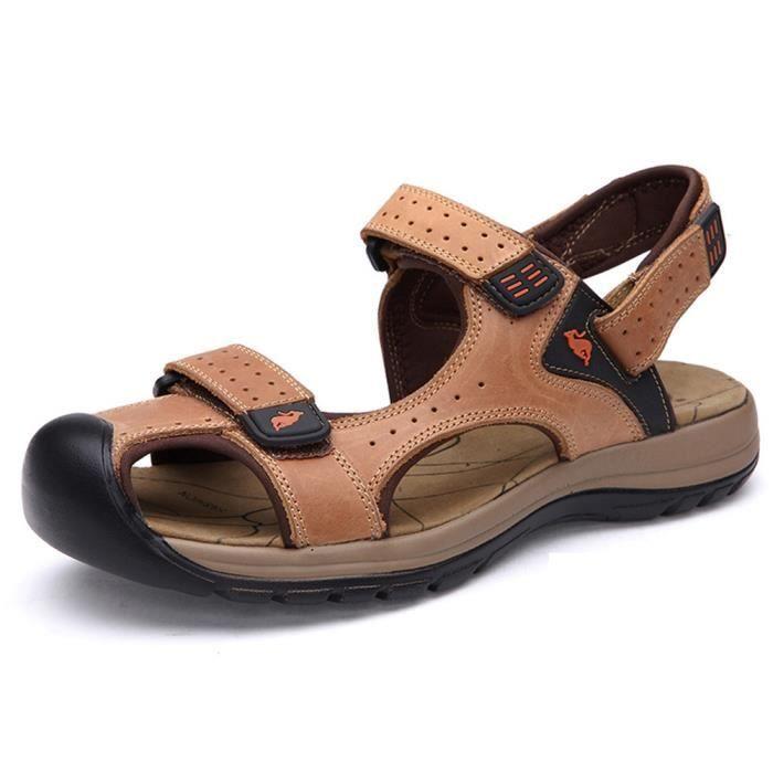Biencome® Sandales Hommes Bout Fermé en Cuir Respirant Confortable pour Sport Plage - Brun ryPP955bh