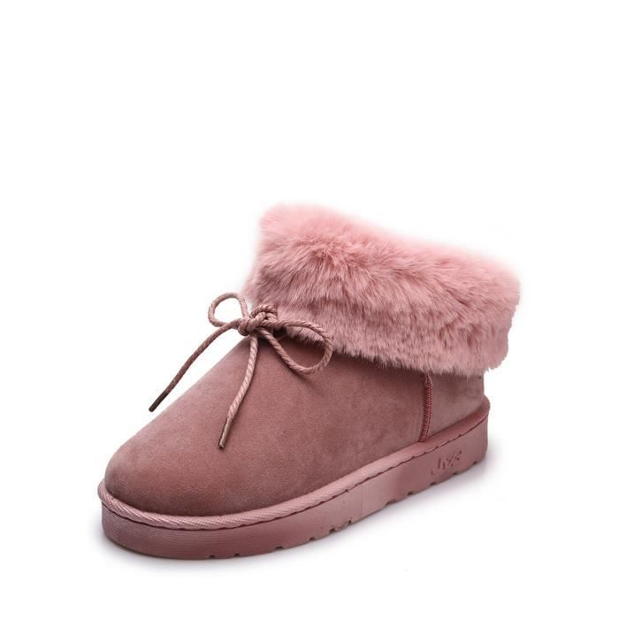Bottes de neige de femme couleur unie style doux Bow noeud Décoration plat rond Chaussures Toe 9777562