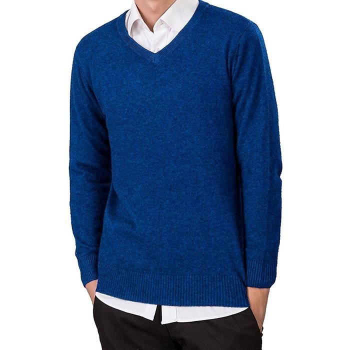 f00749e6f061 Homme Slim Fit Casual Pull Tricoté V Col Manche Longue Sweater Chandail  Chaud Coupe Droite Tops Blouse
