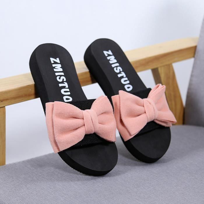 53102646ab555 Femmes Bow Sandales d été pantoufle Indoor Tongs Outdoor Chaussures de  plage Rose