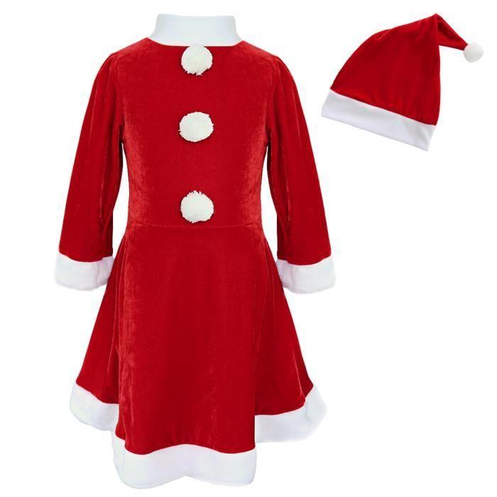 4adac1c2c98a6 Déguisement Robe Mère Noël enfant fille - Longue rouge noël père pompon  blanc fête maison - de 3 à 10 ans