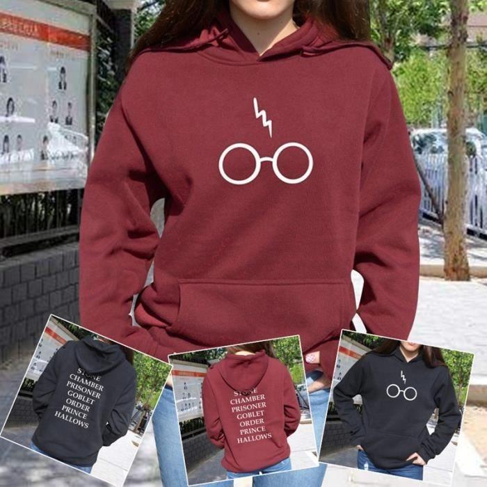 8cd6a427f890 Rouge Harry Potter Sweat à capuche Lunettes Alumni de Poudlard LIVRE ...