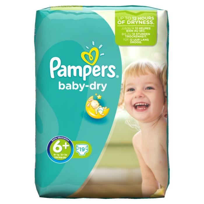 Pampers Baby Dry Taille 6 Extra Large Plus 16 Kg Pack 19 Couches