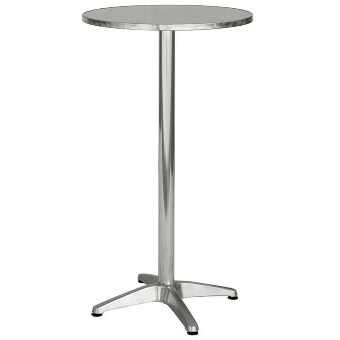 Table haute mange debout avec plateau en acier - Dim : H 110 ...