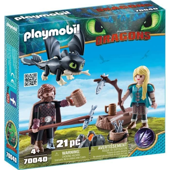 FIGURINE - PERSONNAGE PLAYMOBIL 70040 - Dragons 3 - Harold et Astrid ave