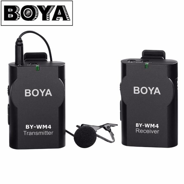 Boya By-wm4 Sans Fil Lavalier Microphone Pour Canon Nikon Sony Panasonic Caméra Dslr Caméscope Iphone Android Smartphone