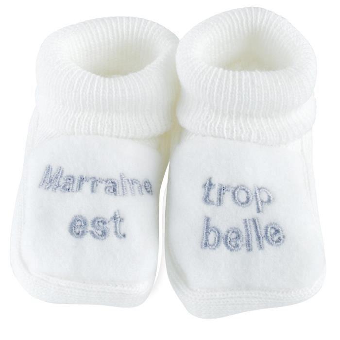 pas mal 9c36c 53167 Chaussons brodés bébé Mixte TROIS KILOS SEPT - Blanc
