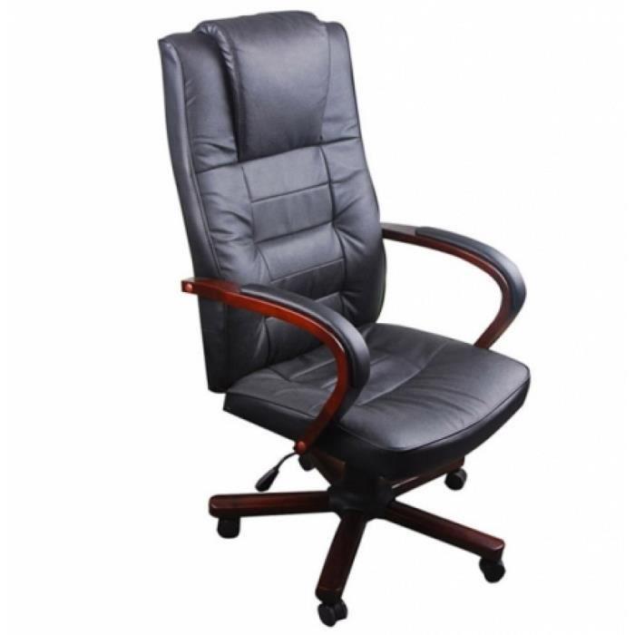 fauteuil de bureau cro te de cuir bois achat vente chaise de bureau cdiscount. Black Bedroom Furniture Sets. Home Design Ideas