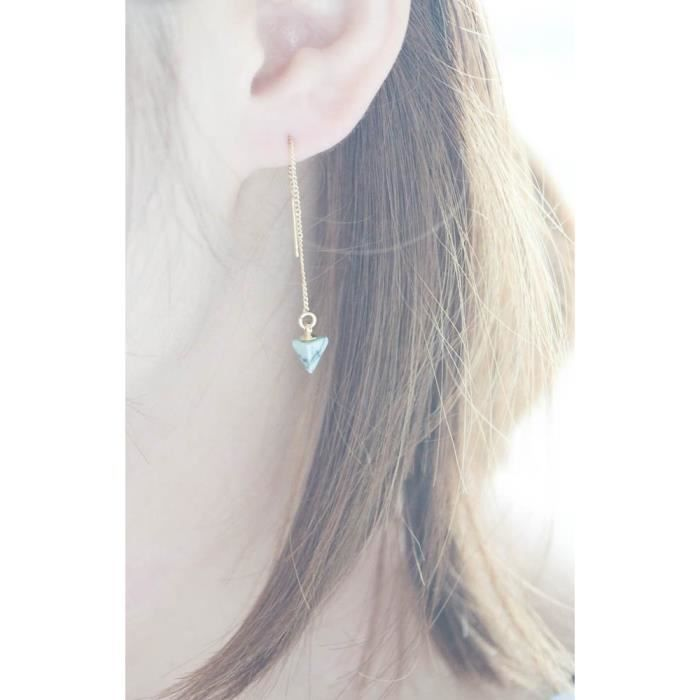 Womens Simulated Mint Howlite Stone Triangle Marble Pattern Chain Earrings ZIT4Z