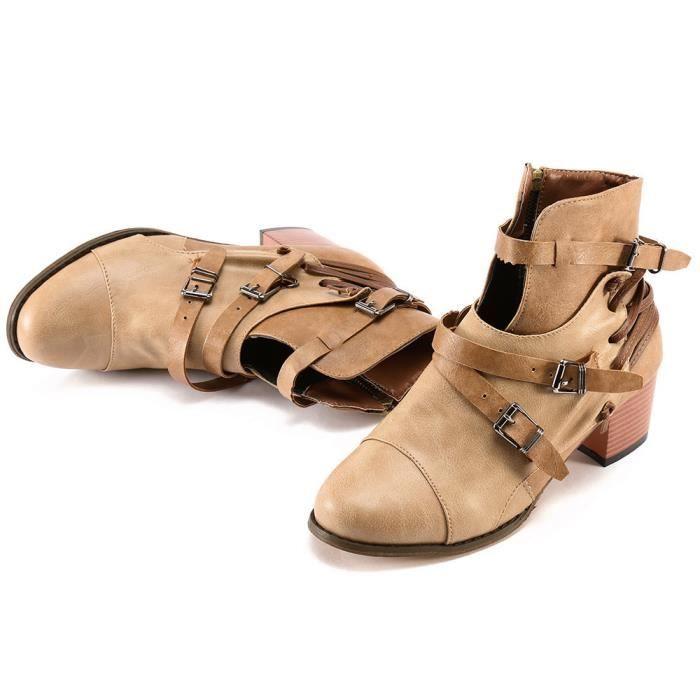 Oppapps2609 Chaussures Bout Bottes Talon Carré Martin Boucle Femmes Rond À Cuir Strap En r1XPzrnq5