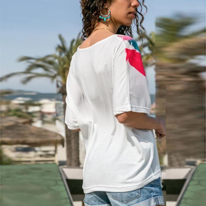 Tee Chemisier Courtes Plumes Femmes Daily shirt À Col D'été Hauts V Blanc Manches En T Casual Qhdstr