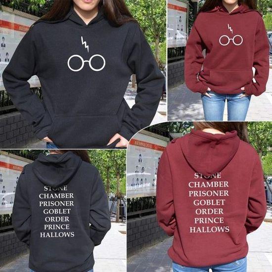 c6c04ea8c3ee Rouge Harry Potter Sweat à capuche Lunettes Alumni de Poudlard LIVRE Titres Pull  Sweat Rouge Rouge - Achat   Vente sweatshirt - Cdiscount