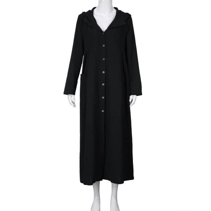 Manteau Casual Capuche De À Vrac Femmes Noir Manches Longue Robe Veste Longues vA5wzqd