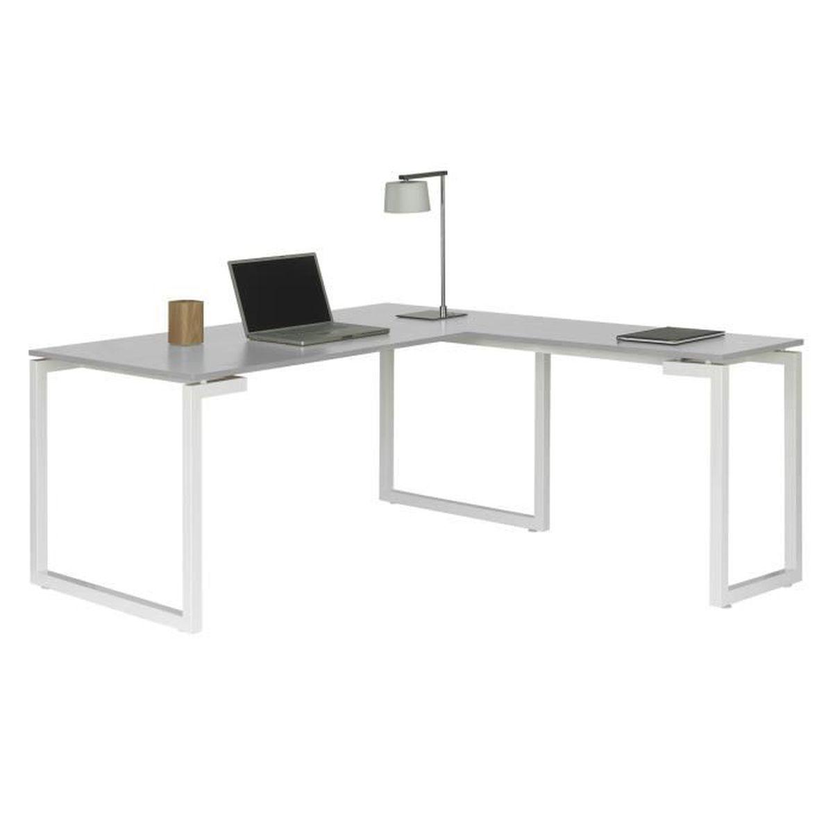 bureau d'angle en métal laqué époxy blanc avec plateau bois sunday