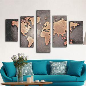 OBJET DÉCORATION MURALE carte du monde non 5 groupe peinture déco vintage