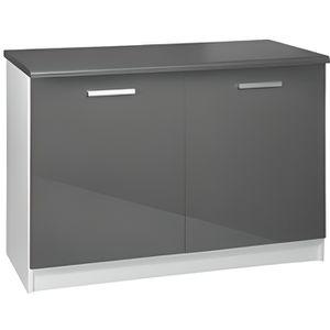 Meuble de cuisine gris bas 2 portes - Achat / Vente pas cher