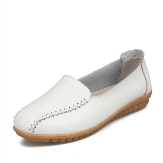 Mocassin Femmes Talon plat Leger Chaussure BBDG-XZ049Blanc38 Blanc Blanc - Achat / Vente escarpin