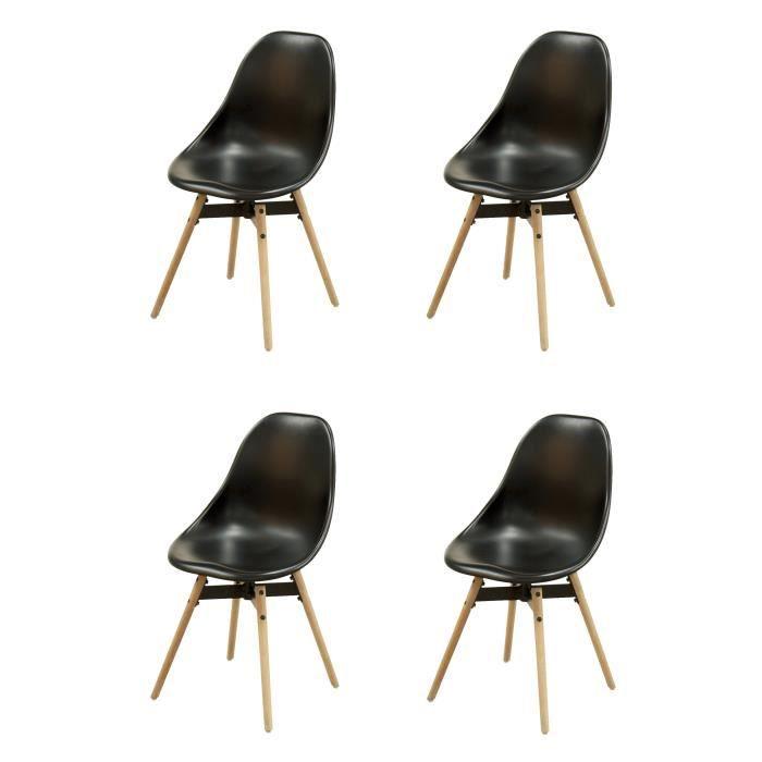 Matrix lot de 4 chaises de salle à manger plastique noir pied en chêne laqué naturel blanchi contemporain l 47 x p 55 cm