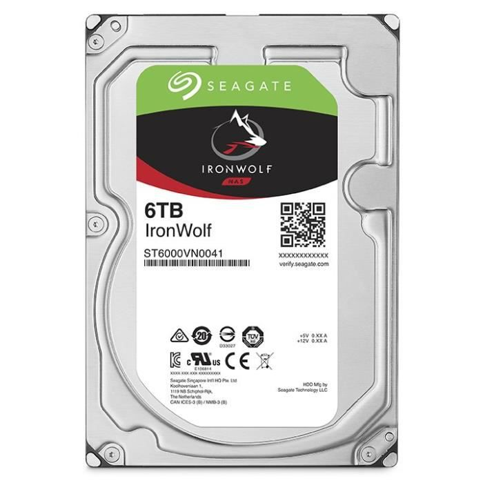 SEAGATE Disque dur Desk HDD IronWolf NAS 6To 3.5