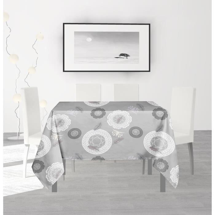 SOLEIL D'OCRE Nappe anti-tâches carrée Texas - 180 x 180 cm - Vert