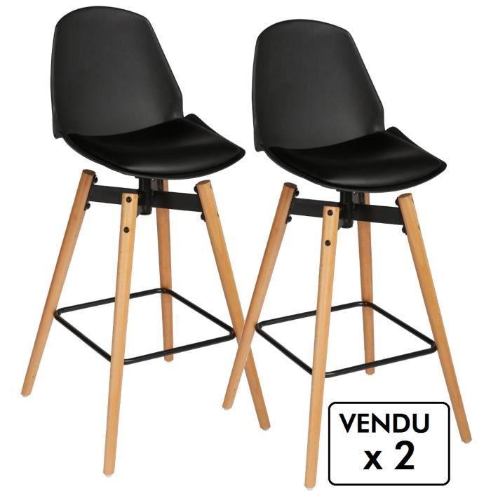 lot de 2 chaises de bar style scandinave coloris noir. Black Bedroom Furniture Sets. Home Design Ideas