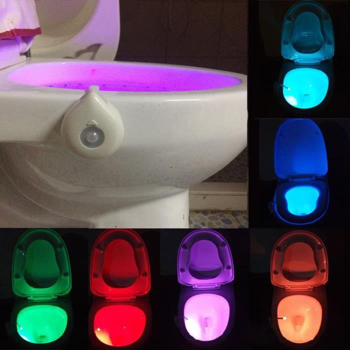 Lampe de Toilette LED Veilleuse Détecteur de Mouvement 8 Couleurs ...